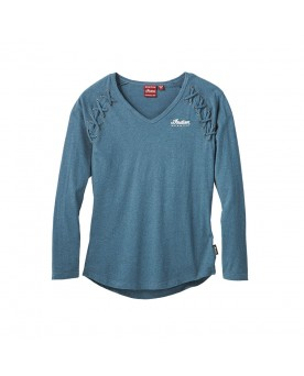 Long Sleeve Laced T-Shirt, Teal