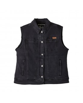 LANA DENIM VEST, BLACK