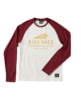 BSMC x INDIAN MOTORCYCLE LANGÄRMELIGES BASEBALL-SHIRT, PORTWEINROT/CREME