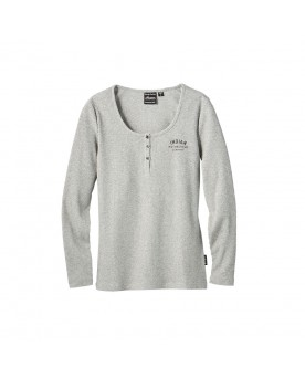 Long Sleeve Ribbed Henley T-Shirt, Gray