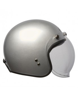 RETRO OPEN FACE HELMET BUBBLE VISOR, REFLECTIVE SILVER